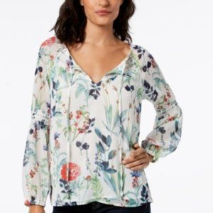 NWT! Tommy Hilfiger Printed Peasant Blouse Ivory